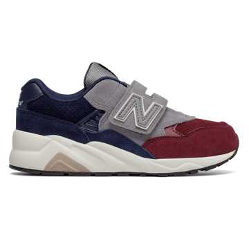 New Balance 580系列 中童 加宽魔术贴 贴合脚背, 灰色/藏青色/酒红色