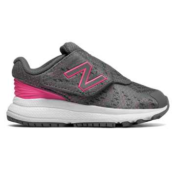 New Balance Hook and Loop FuelCore Rush v3, Grey with Pink