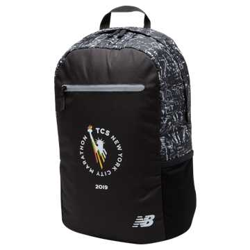 New Balance TCS NYC Marathon Backpack, Black with White