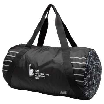New Balance TCS NYC Marathon Packable Duffel, Black with White