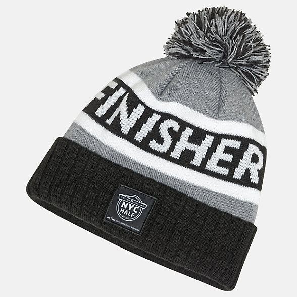 New Balance United Half Finisher Pom Beanie, LAH01019CBK