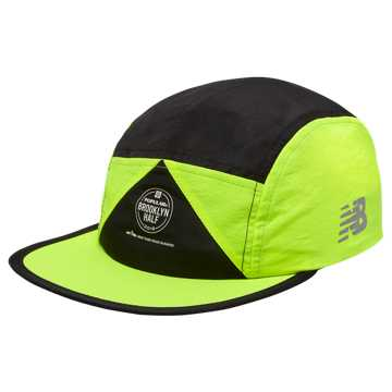 New Balance Brooklyn Half Archive Hat, Black with Bleached Lime Glo