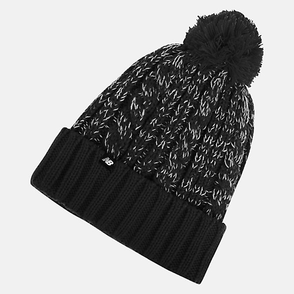 New Balance Winter Pom Beanie, LAH93010BK