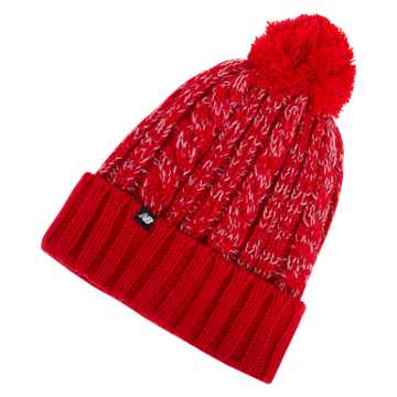 New Balance Winter Pom Beanie, Team Red