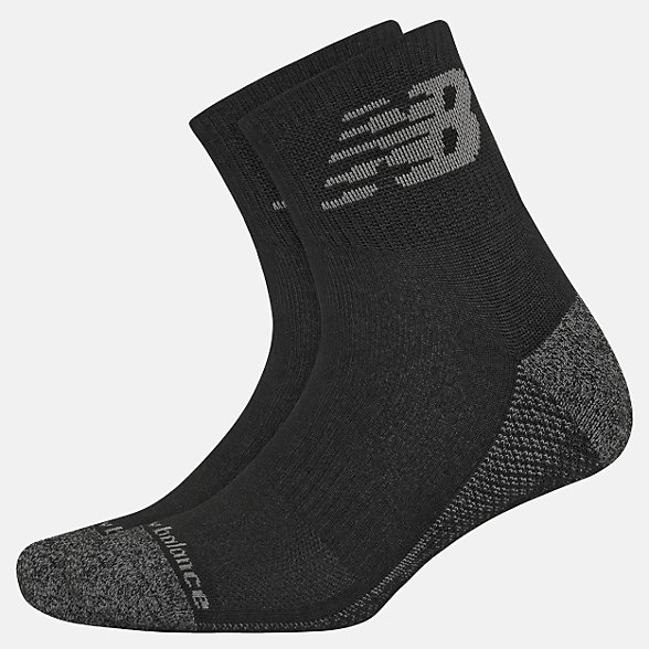 New Balance Cooling Cushion Performance Quarter Socks 2 Pair, LAS00322BK