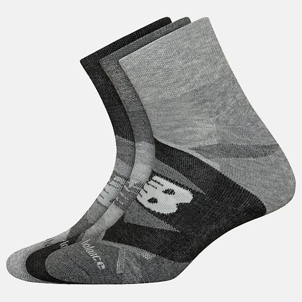 New Balance Performance Cushion Quarter Socks 3 Pack, LAS00933GR