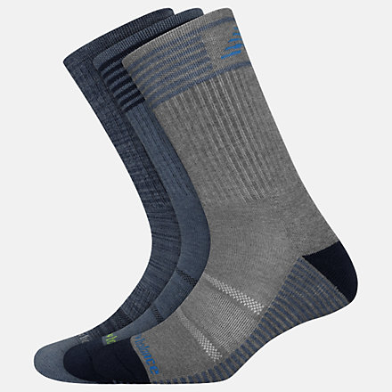 New Balance Performance Cushion Crew Socks 3 Pack, LAS01163GYB image number null