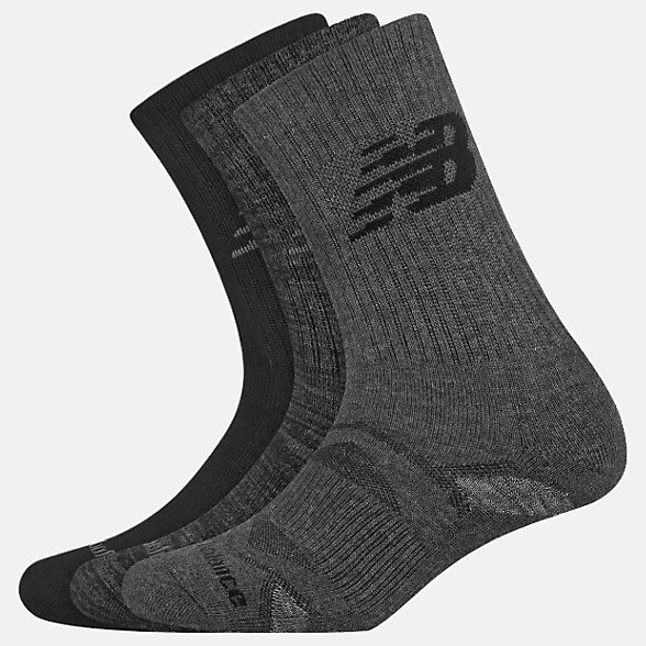 New Balance Performance Cushion Crew Socks 3 Pack, LAS01263BK