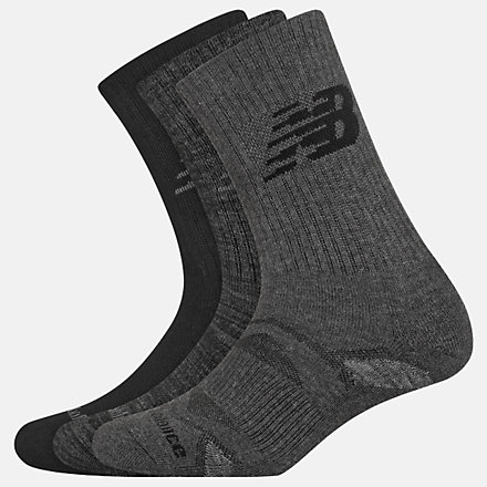 New Balance Performance Cushion Crew Socks 3 Pack, LAS01263BK image number null