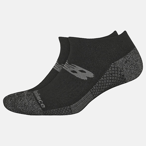 New Balance Cooling Cushion Performance No Show Socks 2 Pair, LAS01422BK