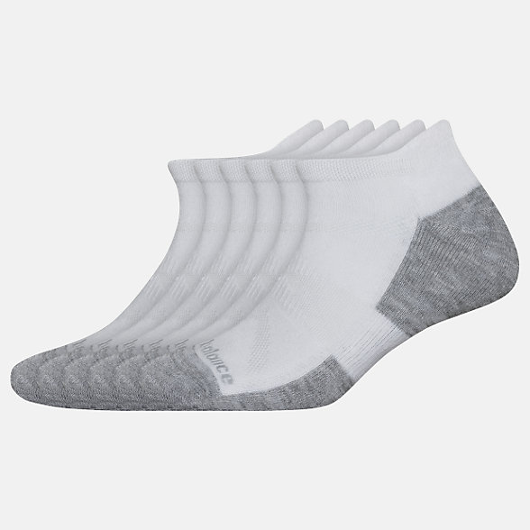New Balance Performance Cushion Low Cut Tab Socks 6 Pack, LAS01656WT