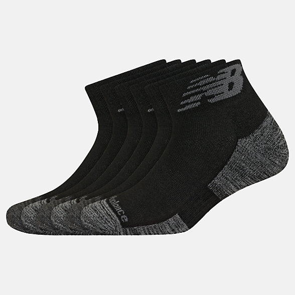 New Balance Performance Cushion Quarter Socks 6 Pack, LAS01736BK