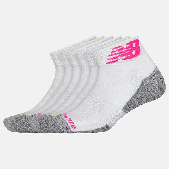 New Balance Performance Cushion Quarter Socks 6 Pack, LAS01736WM