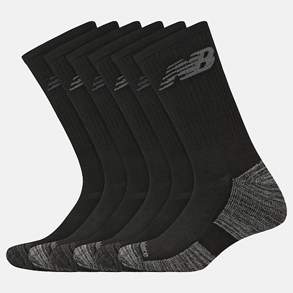 New Balance Performance Cushion Crew Socks 6 Pack, LAS01866BK