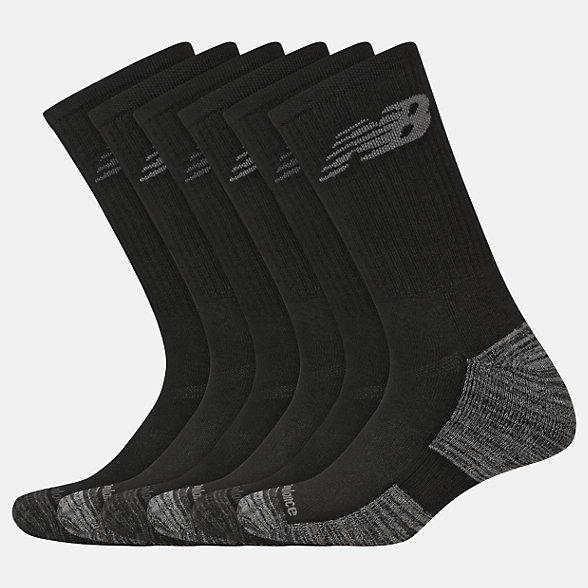 New Balance Performance Cushion Crew Socks 6 Pack, LAS01866BK