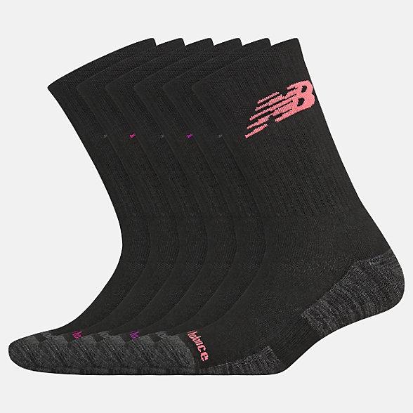 New Balance Performance Cushion Crew Socks 6 Pack, LAS01866BM