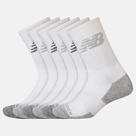 New Balance Performance Cushion Crew Socks 6 Pack, LAS01866WT image number null