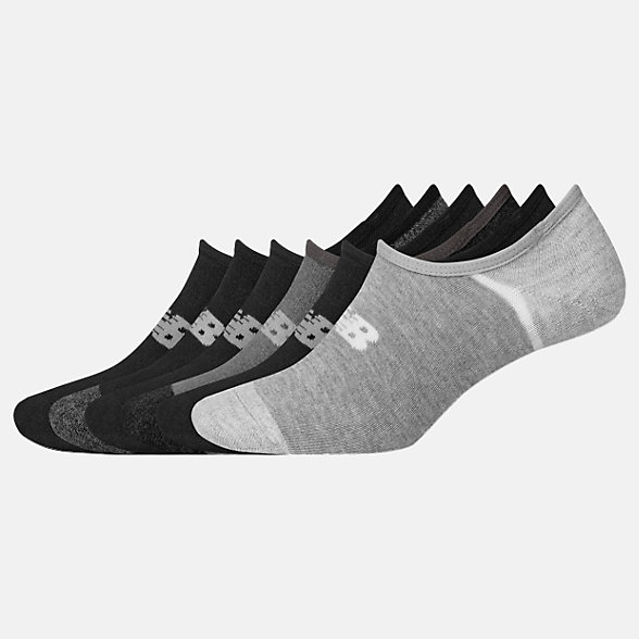 New Balance No Show Liner Socks 6 Pack, LAS02746BK