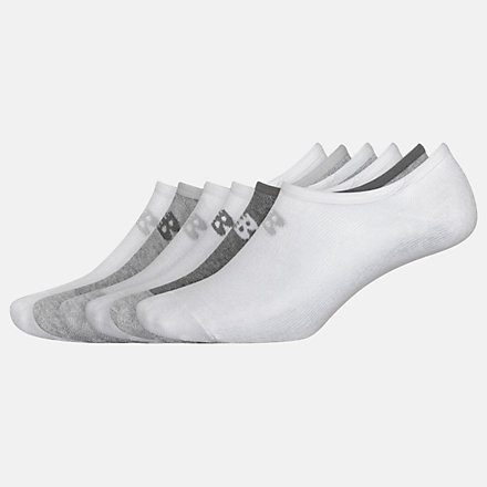New Balance No Show Liner Socks 6 Pack, LAS02746WT image number null