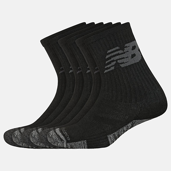 New Balance Kids Performance Cushion Crew Socks 6 Pack, LAS03166BK
