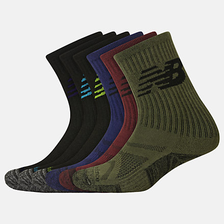 New Balance Kids Performance Cushion Crew Socks 6 Pack, LAS03166BM image number null
