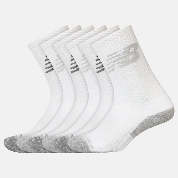 New Balance Kids Performance Cushion Crew Socks 6 Pack, LAS03166WT