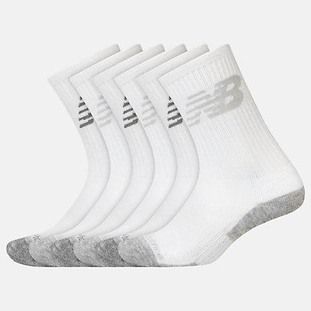 New Balance Kids Performance Cushion Crew Socks 6 Pack, LAS03166WT image number null