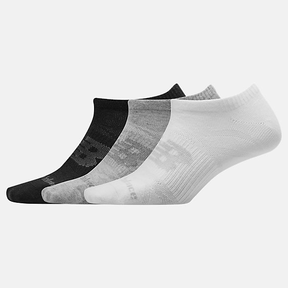 New Balance Flat Knit No Show Socks 3 Pack, LAS03223AS2