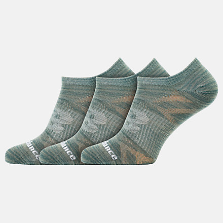 NB Flat Knit No Show Socks 3 Pack, LAS03223MGN image number null