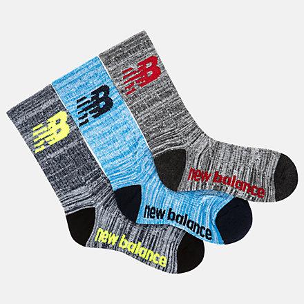 New Balance Kids Performance Crew Socks 3 Pack, LAS03263AS image number null