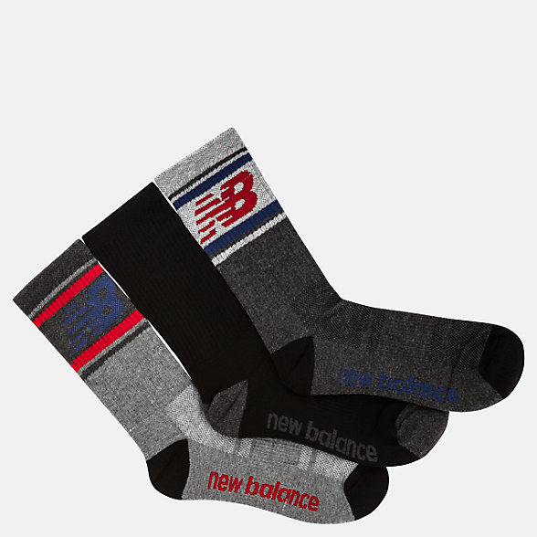New Balance Kids Performance Crew Socks 3 Pack, LAS03363GM