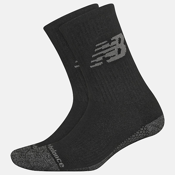 New Balance Cooling Cushion Performance Crew Socks 2 Pair, LAS04262BK