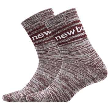 New Balance Mens Evergreen Short Crew Sock 2 Pair, Burgundy