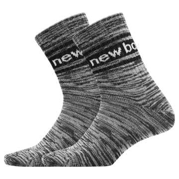 New Balance Mens Evergreen Short Crew Sock 2 Pair, Black