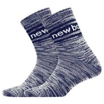 New Balance Mens Evergreen Short Crew Sock 2 Pair, Navy