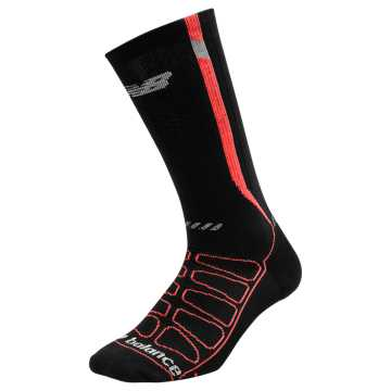 New Balance Reflective Compression Run Socks, Black with Flame