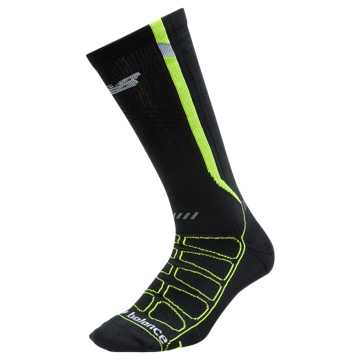 New Balance Reflective Compression Run Sock 1 Pair, Black with Yellow