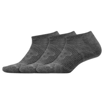 New Balance Performance No Show Socks 3 Pack, Dark Grey