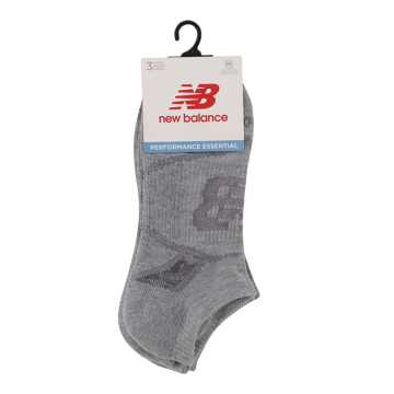 New Balance Performance No Show Socks 3 Pack, Light Grey Heather