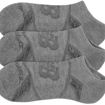 New Balance Performance No Show Socks 3 Pack, Light Grey Heather