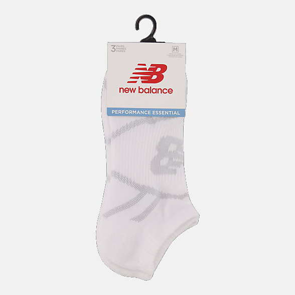 NB Performance No Show Socks 3 Pack, LAS61123WT