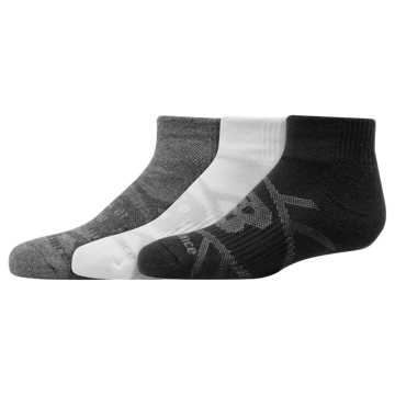 New Balance Kids Performance Ankle Sock 3 Pair, Grey Multi