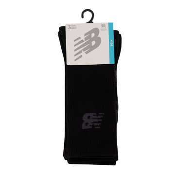 New Balance Kids Performance Crew Sock 3 Pair, Black