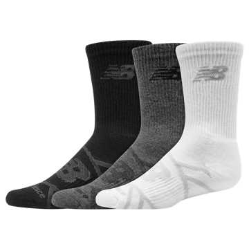 New Balance Kids Performance Crew Sock 3 Pair, Grey Multi