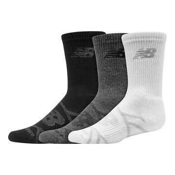 New Balance Kids Performance Crew Sock 3 Pair, Grey Multi