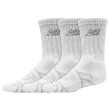 New Balance Kids Performance Crew Sock 3 Pair, White