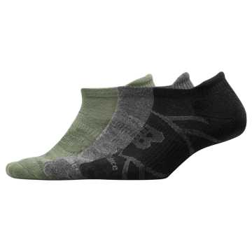 New Balance Performance Tab Socks 3 Pack, Mineral Green with Grey & Black