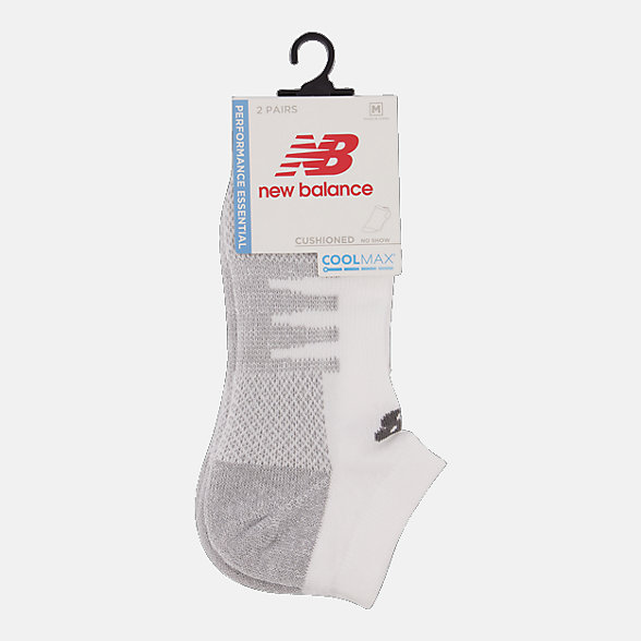 New Balance Coolmax No Show Socks 2 Pair, LAS70122WT