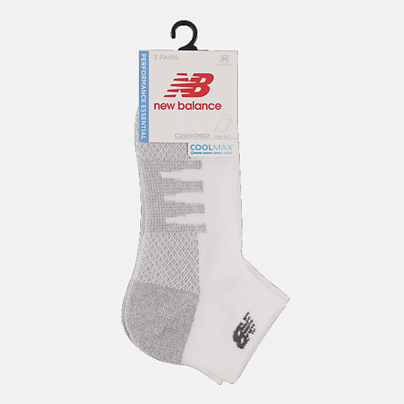 New Balance Coolmax Low Cut Socks 2 Pair, LAS70272WT
