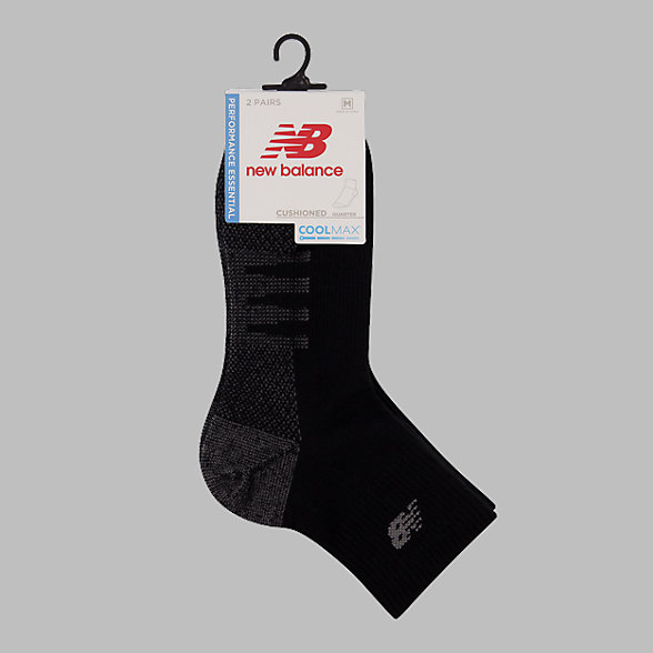 New Balance Coolmax Quarter Socks 2 Pair, LAS70332BK